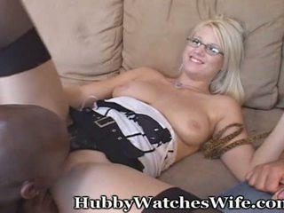 Hubby watches żona z czarne ogier