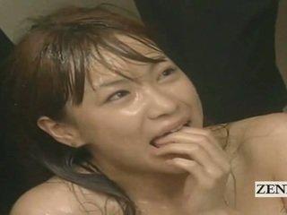 Subtitled enf cmnf hullu japanilainen kumulat spattered opettaja