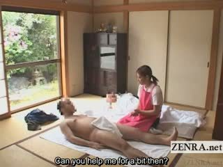 Subtitled cfnm jepang caregiver elderly man digawe nggo tangan