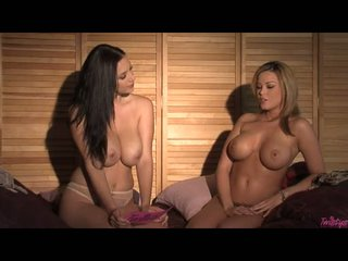 Brea Lynn And JElena Jensen One As Well As The Other Popping Their Boobs While Having A Talk