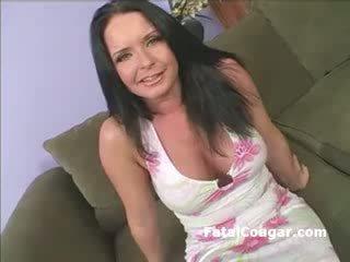Bigtits horny cougar masturbates as she begs for a cock