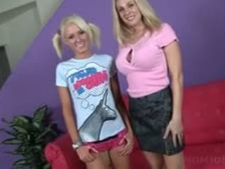 Blonde Mom And Teen Strip And Show Sexy Assets