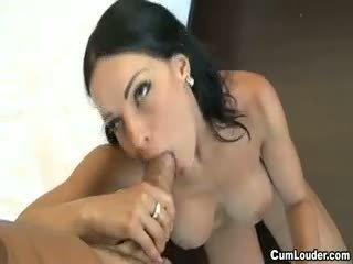 Busty Brunette Abbie Cat Swallowing Jizz