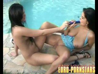 Black Angelica And Jasmine Black Masturbating Jointly On The Poolside