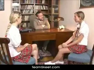 TeamSkeet European schoolgirls Mina and Morgan threesome sex puni