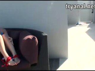 Fierbinte puicuta evelyn lacie fund inpulit în timp ce being filmed la acasă