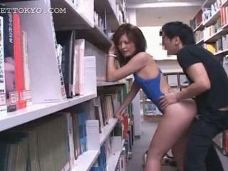 도서관 하드 코어 빌어 먹을 와 뜨거운 아시아의 tramp 에