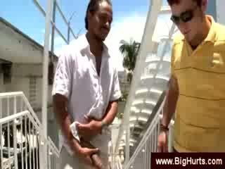Viņš shows viņa liels melnas dzimumloceklis