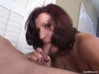 Smoking mom gives hot blowjob
