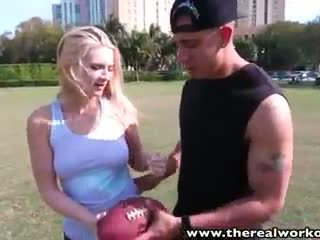 TheRealWorkout Sexy blonde Addison Avery fucked after football training