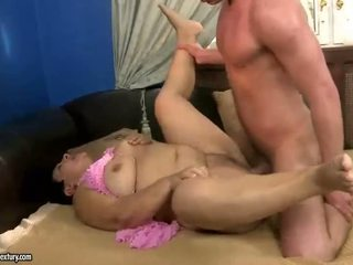 Fat grandma gets fucked by young man