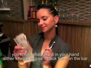 Cute bartender Marie Getty anal for cash