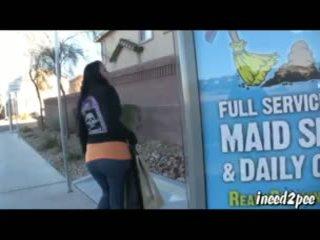 Caroline Pierce wetting spandex leggings outside in public
