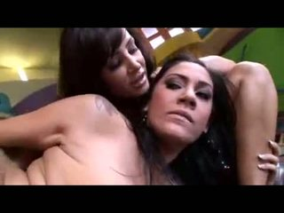 Amazing threesome with two delicious brunettes