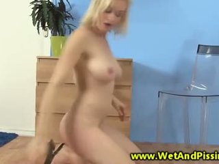 Busty piss fetish blonde hottie plays with toy