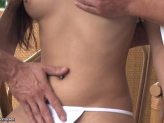 Long-haired mistress double penetrated.