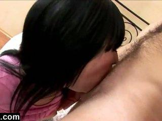 Barely legal girlfriend sucks cock