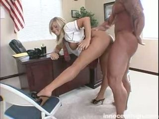 Blonde Teenie Carmen Kinsley Bends Over A Table And Gets Her Lovely TwaT Boned