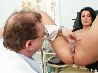 Exclusive Club: Brunette whore Agnes examined by horny old doctor