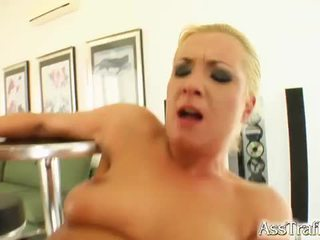 Cute blonde gets a brutal ass fuck