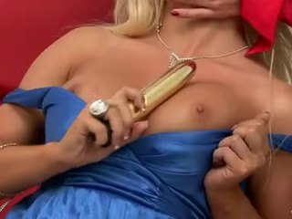 Nicky Angel Like To Share The Gold Color Fake Penis