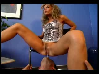Sexy Mistress sits on her slave's head and gets her pierced cunt licked