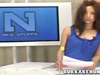 Newscaster In Asian Bukkake Tv