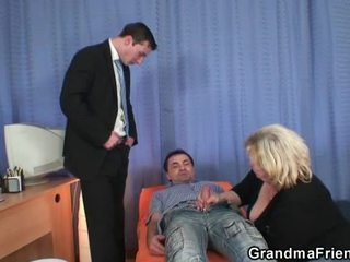 Grandmother gives twin tackle bj dan has doggystyled