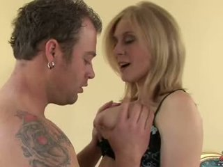 Golden Haired Milf Nina Hartley Stuffs Her Ribald Mouth With Her Young Man's Cock