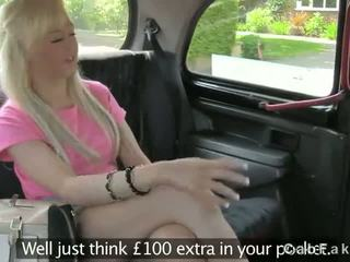 Hot blonde fucked in fake taxi on sunny