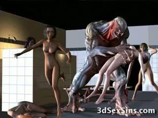 Aliens bang 3d tytöt!
