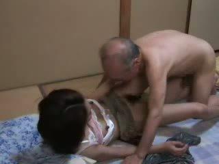 japonais, fille, grand-père