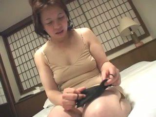 brunette, japanese, masturbating, granny