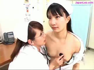 Moveless Nurse Getting Her Pussy Licked By Other Nurse While Examining Patient At The Surgery