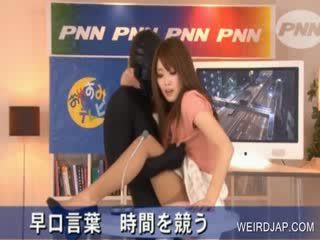 Hot asian gets puss rubbed in TV show