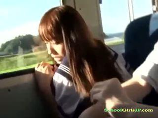 Schoolgirl Fingered Getting Her Nipples Sucked Giving Handjob For Schoolguy On The Bus