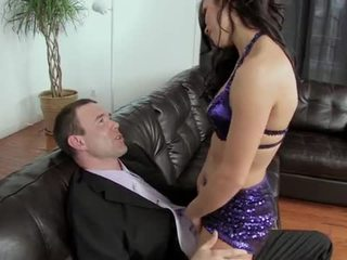 Hot brunette sucks and fucks with facial