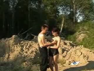 Sexy girl doing hot blowjob for babe homeless dude