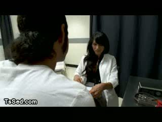 Guy licks feet to busty tranny in clinic
