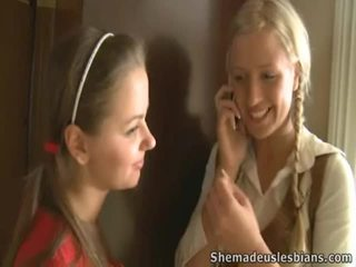 Mrs. Hudson Pets Springy Chest Of Teen Coeds Natasha And Karina.