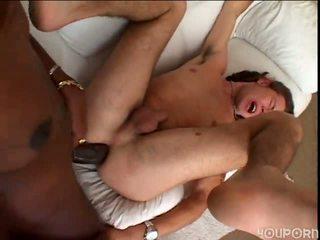 Teen guy cumsucker gets fucked painful by big ebony tranny