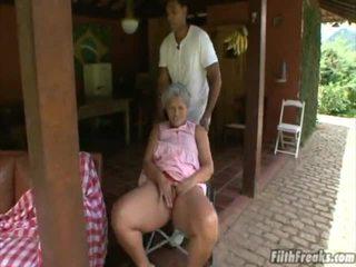 outdoor sex, masturbating, old, grandma
