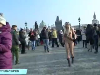 Horny girls shows their hot bodies in public
