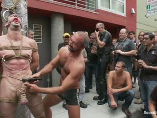 Muscle Serf Is Undressped In Nature's Garb, Used And Humiliated While Hordes Of People Take Photos.