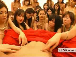 Big POV Japanese harem orgy with handjobs and kissing
