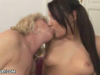 Old And Young Lesbian Love: Lesbian MILF and young chick lick each other off