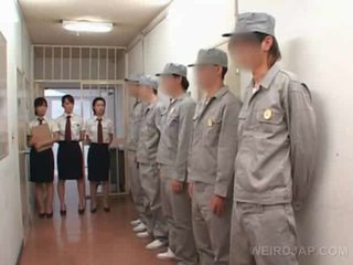 Asian jail gangbang with police women rubbing hard cock