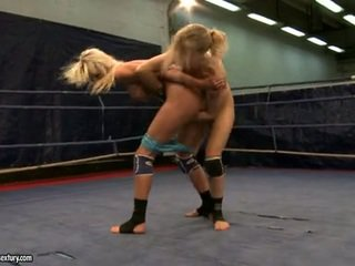 Laura krystal a michelle dampened fighting stripped