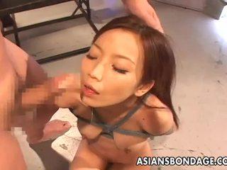 Extreme asian rope bondage and bdsm blowjob.