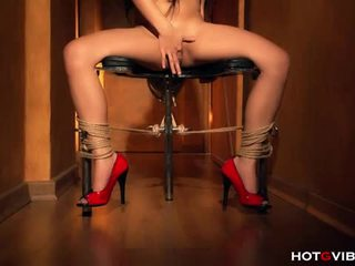 Bound to a chair and squirting